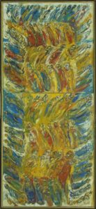Procesiune verticală nr.1, 2005, ulei pe pînză, 800x1,600mm