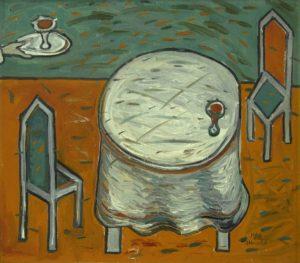 Masă pentru unu, 1997, ulei pe pînză, 500x600 mm